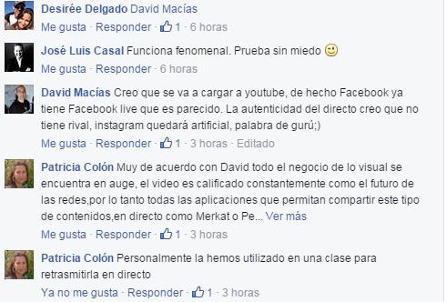 Comentarios Periscope Facebook